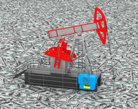 Oil Jack Pump stands over heap of money Stock Images