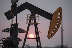 Oil Jack Saskatchewan. Canada gas fields energy Stock Photo