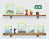 Oil in jar. On the shelve Royalty Free Stock Images