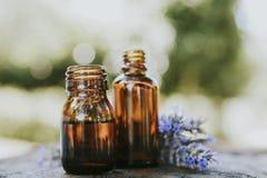 Oil jars or lavender essence stock photo