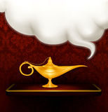 Oil lamp. Magic oil lamp, computer illustration Stock Photography