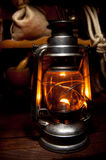 Oil Lamp. Antique Oil Lamp Lighting up the Darkness Royalty Free Stock Image