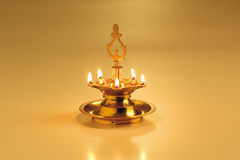 Oil lamp. A lighed oil lamp for the festival, Deepavali Stock Photos