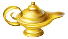 Oil Lamp. Illustration of an old fashioned Oil Lamp like one a genie may pop out of in an Aladdin story vector illustration