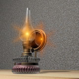 Oil lamp. Illustration of a timidly ignited oil lamp Stock Image