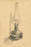 Oil lamp. Hand drawing vintage picture with oil lamp Royalty Free Stock Images