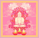 Oil Lamp with Buddha card. Illustration Royalty Free Stock Photography