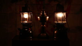 Oil lamp in dark night stock footage