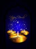 Oil lamp with diwali diya greetings dark background Royalty Free Stock Images