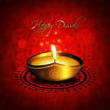 Oil lamp with diwali diya greetings Royalty Free Stock Image