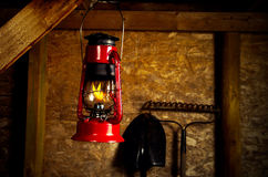 Oil lamp in garden shed Stock Images