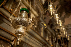 Oil lamp in Greek Orthodox Church Stock Images