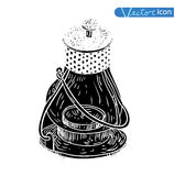 Oil lamp icon, hand drawn vector illustration. black.  vector illustration