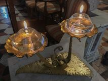 Two oil lamp for church royalty free stock photography