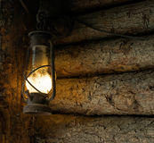 Oil lamp in the old mine Stock Photo