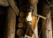 Oil lamp in the old mine Royalty Free Stock Photography