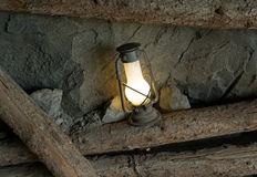 Oil lamp in the old mine Stock Image