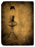 Oil lamp. Old postcard. Stock Images