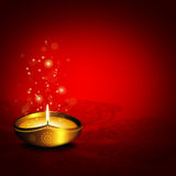 Oil lamp with plac for diwali greetings over dark background stock illustration