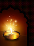 Oil lamp with with place for diwali diya greetings Royalty Free Stock Photo