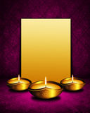 Oil lamp with place for diwali greetings over dark  background Stock Image