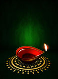Oil lamp with place for diwali greetings over dark background Royalty Free Stock Photo
