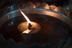 oil lamp in thailand temple Stock Photography