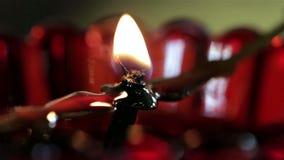 Oil lamp wick in fire stock video