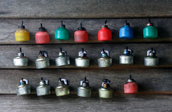 Oil lamps. Are placed on a timber wall ahead of Eid al-Fitr festival royalty free stock image