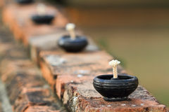 Oil lamps. Oil lamp at the maheyong temple in ayutthaya,Thailand Royalty Free Stock Photos