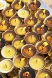 Oil Lamps at Boudhanath, Nepal Stock Photo