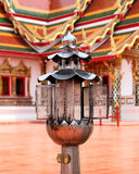 Oil lamps in Buddhist. Oil silver lamps in Buddhist stock photography