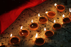 Oil lamps on diwali festival Royalty Free Stock Photo