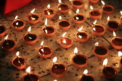 Oil lamps on diwali festival Royalty Free Stock Images