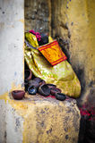 Oil lamps. At the entrance of a temple, India Stock Image