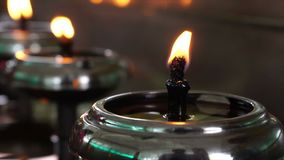 Oil lamps fill stock video
