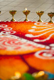 Oil lamps and kolam at Hindu Wedding. In Malaysia Royalty Free Stock Image