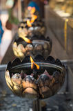 Oil lamps lining Stock Images