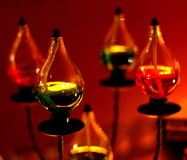 Oil Lamps on Metal Pedestals Royalty Free Stock Images