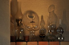 Oil lamps. Ornament on the mantelpiece. Light source. The Middle Ages. Royalty Free Stock Photo