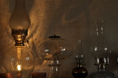 Oil lamps. Ornament on the mantelpiece. Light source. Royalty Free Stock Images