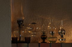 Oil lamps. Ornament on the mantelpiece. Light source. Royalty Free Stock Image