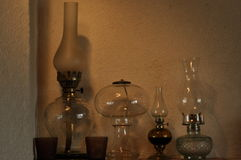 Oil lamps. Ornament on the mantelpiece. Light source. Royalty Free Stock Photography