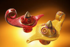 Oil Lamps. On Warm Colored Background Stock Photos