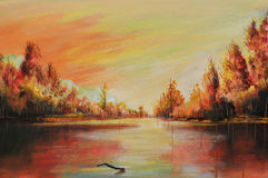 Oil landscape. Romantic sunsets on river, this is oil painting and I am author of this image stock illustration