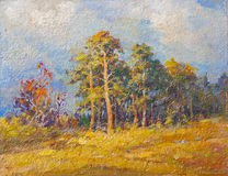 Oil landscape painting Royalty Free Stock Photo