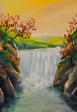 Oil landscape, waterfall royalty free illustration