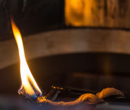 Oil lantern's flame Stock Photography