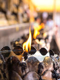 Oil lantern in Thai temple Stock Photo