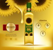 Oil liquid in bottle with sunflowers on top. Realistic sunflower with oil drop on top of bottle with liquid. Plastic container with gold plant on sticker Stock Image